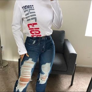 White Tommy draw stringcrop long sleeve